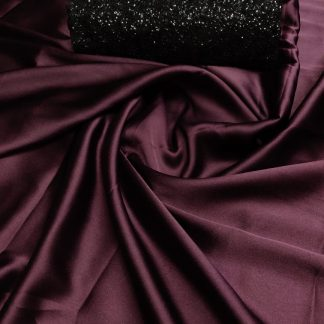 Amazing Wine Pure Satin Silk Saree With Sequence Work Blouse-VT1138111A