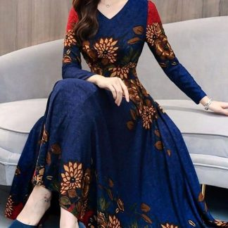 Fascinationg Royal Blue Silk With Digital Printed Gown-MINIAB158A