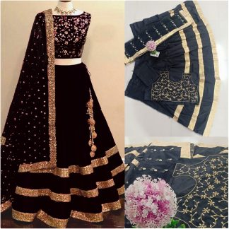 Black Color Taffeta Silk Embroidered Semi Stiched Lehnga