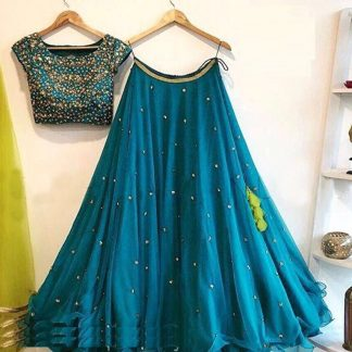 Function Wear Teal Georgette Silk with Butti Embroidery Work Lehnga Choli for Women